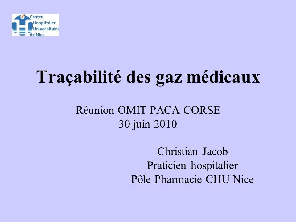 Traçabilité des gaz médicaux Réunion OMIT PACA CORSE 30 juin 2010 Christian Jacob Praticien hospitalier Pôle Pharmacie CHU Nice