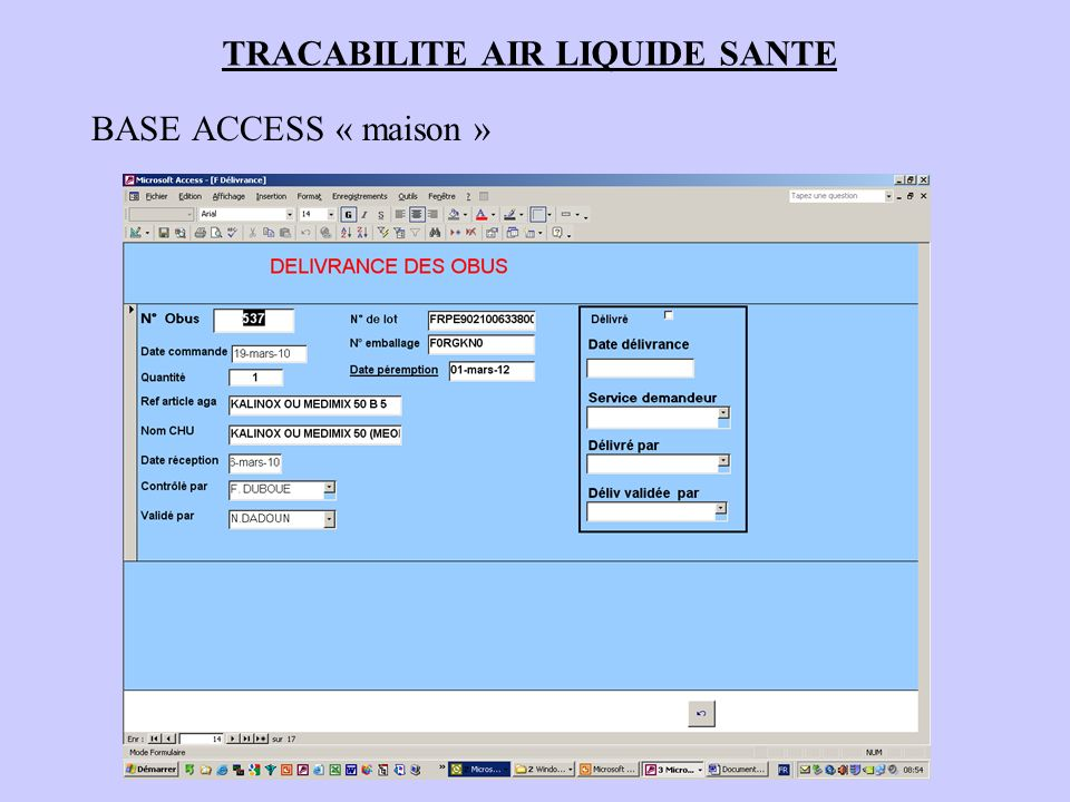TRACABILITE AIR LIQUIDE SANTE BASE ACCESS « maison »