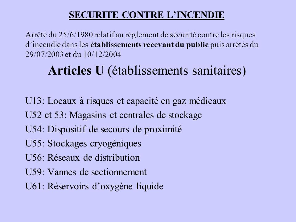 SECURITE CONTRE LINCENDIE Arrêté du 25/6/1980 relatif au règlement de sécurité contre les risques dincendie dans les établissements recevant du public