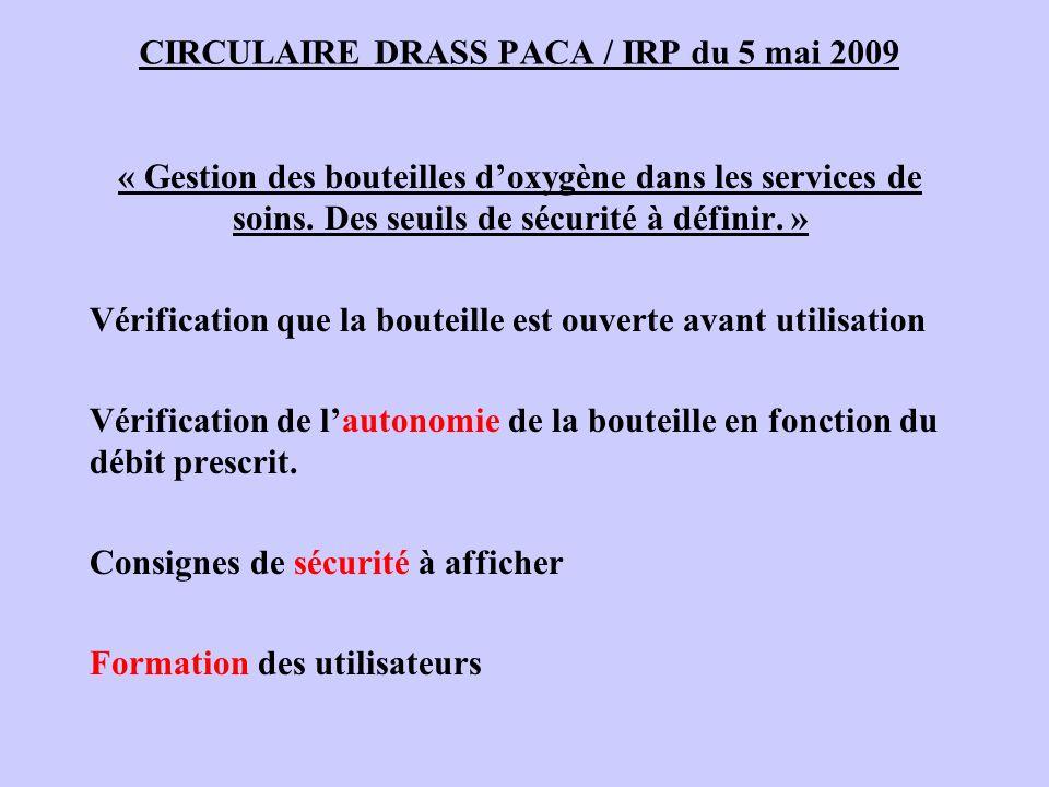 CIRCULAIRE DRASS PACA / IRP du 5 mai 2009 « Gestion des bouteilles doxygène dans les services de soins. Des seuils de sécurité à définir. » Vérificati