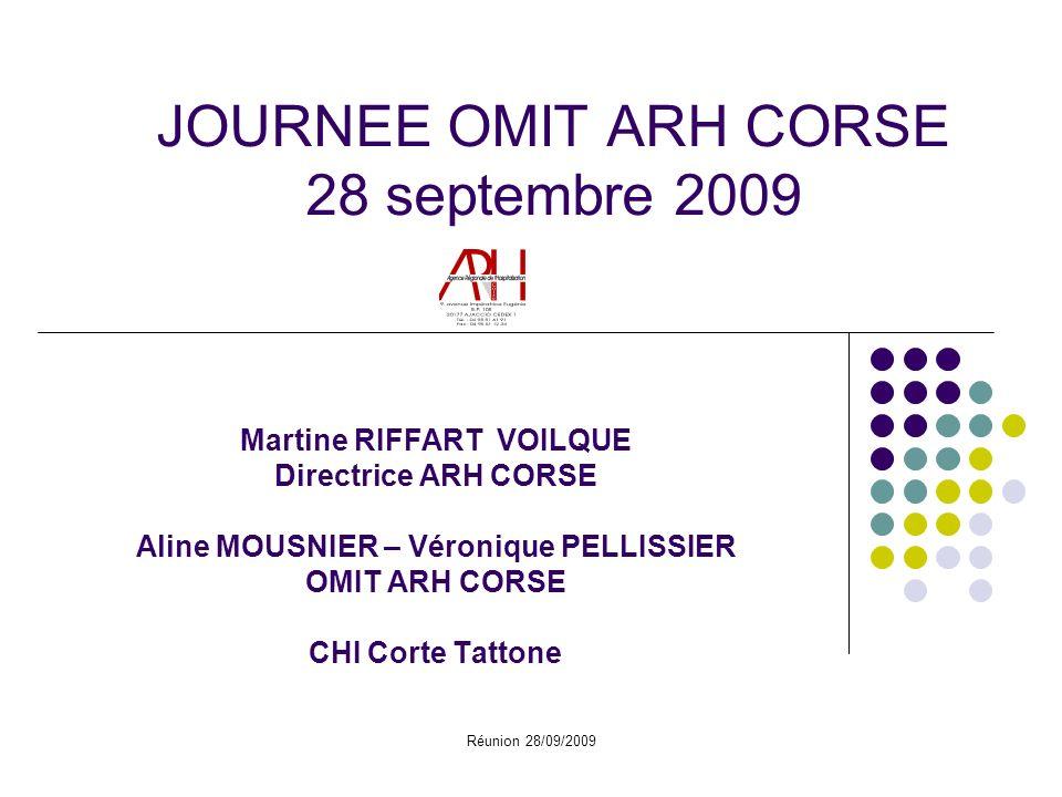 Réunion 28/09/2009 JOURNEE OMIT ARH CORSE 28 septembre 2009 Martine RIFFART VOILQUE Directrice ARH CORSE Aline MOUSNIER – Véronique PELLISSIER OMIT ARH CORSE CHI Corte Tattone