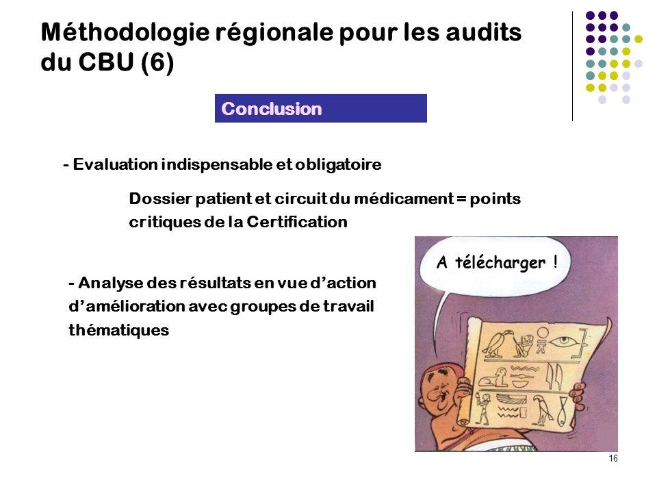16 Méthodologie régionale pour les audits du CBU (6) - Evaluation indispensable et obligatoire Dossier patient et circuit du médicament = points critiques de la Certification Conclusion A télécharger .