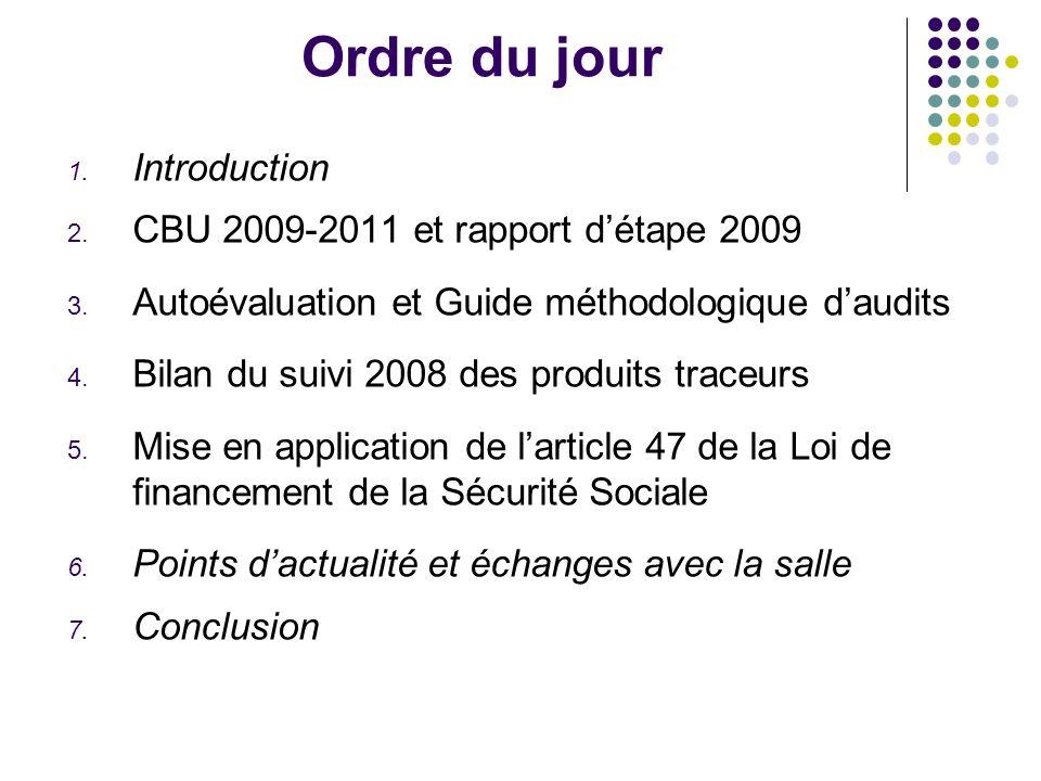 Ordre du jour 1. Introduction 2. CBU 2009-2011 et rapport détape 2009 3.