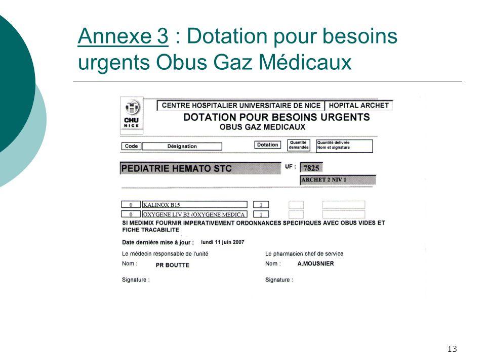 13 Annexe 3 : Dotation pour besoins urgents Obus Gaz Médicaux