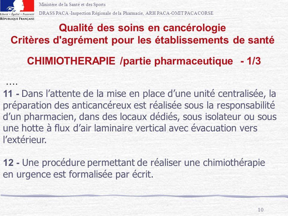 Ministère de la Santé et des Sports DRASS PACA -Inspection Régionale de la Pharmacie, ARH PACA-OMIT PACA CORSE 10 …. 11 - Dans lattente de la mise en