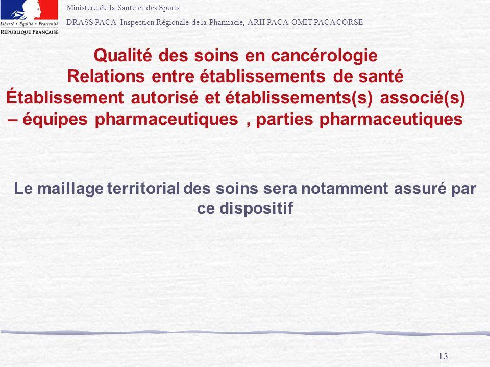 Ministère de la Santé et des Sports DRASS PACA -Inspection Régionale de la Pharmacie, ARH PACA-OMIT PACA CORSE 13 Le maillage territorial des soins se