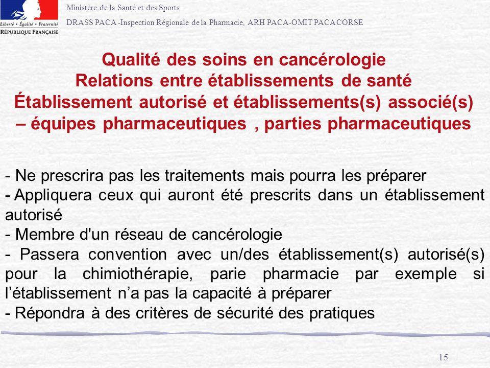 Ministère de la Santé et des Sports DRASS PACA -Inspection Régionale de la Pharmacie, ARH PACA-OMIT PACA CORSE 15 - Ne prescrira pas les traitements m