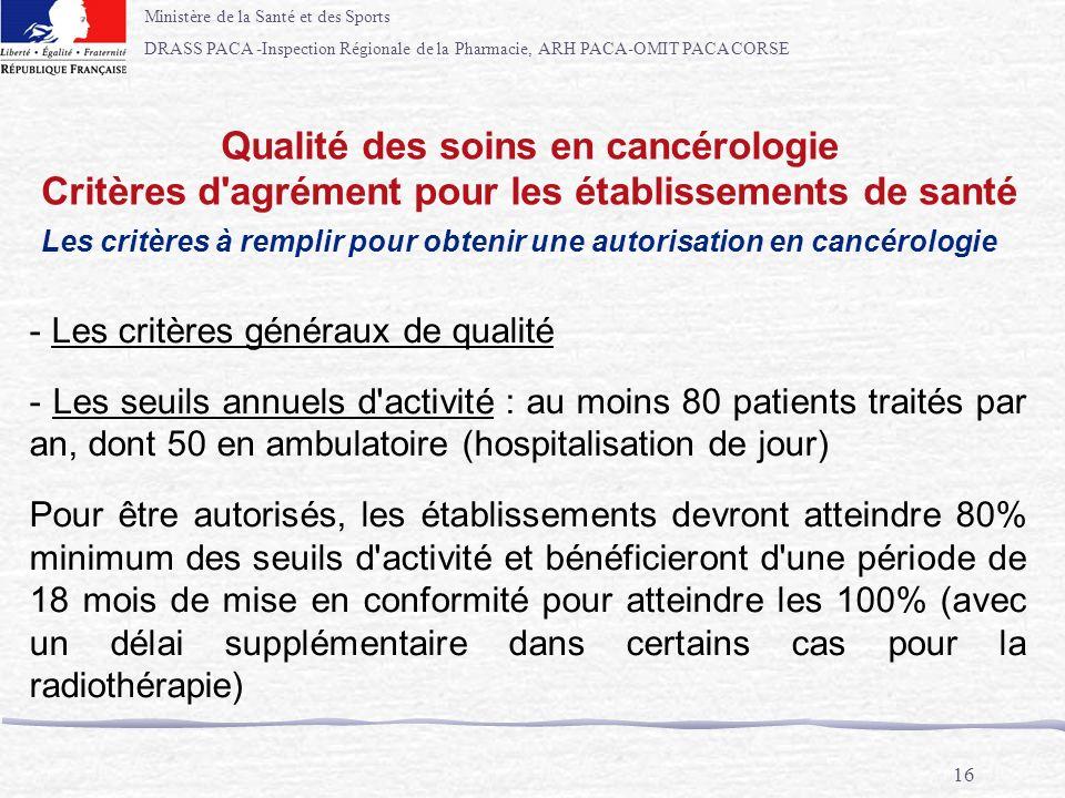 Ministère de la Santé et des Sports DRASS PACA -Inspection Régionale de la Pharmacie, ARH PACA-OMIT PACA CORSE 16 Qualité des soins en cancérologie Cr