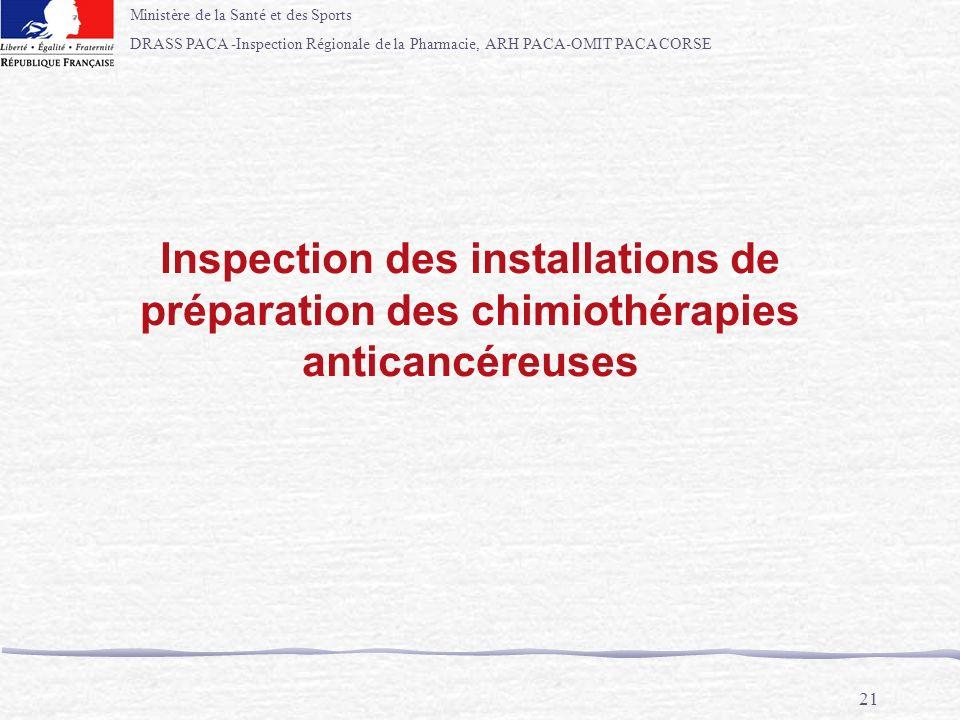 Ministère de la Santé et des Sports DRASS PACA -Inspection Régionale de la Pharmacie, ARH PACA-OMIT PACA CORSE 21 Inspection des installations de prép