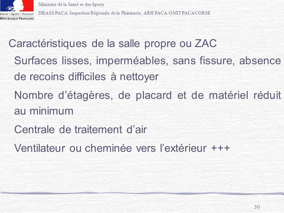 Ministère de la Santé et des Sports DRASS PACA -Inspection Régionale de la Pharmacie, ARH PACA-OMIT PACA CORSE 30 Caractéristiques de la salle propre