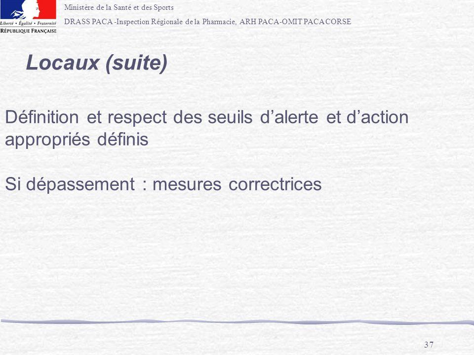 Ministère de la Santé et des Sports DRASS PACA -Inspection Régionale de la Pharmacie, ARH PACA-OMIT PACA CORSE 37 Locaux (suite) Définition et respect