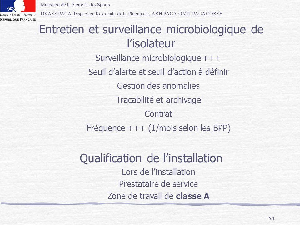 Ministère de la Santé et des Sports DRASS PACA -Inspection Régionale de la Pharmacie, ARH PACA-OMIT PACA CORSE 54 Entretien et surveillance microbiolo