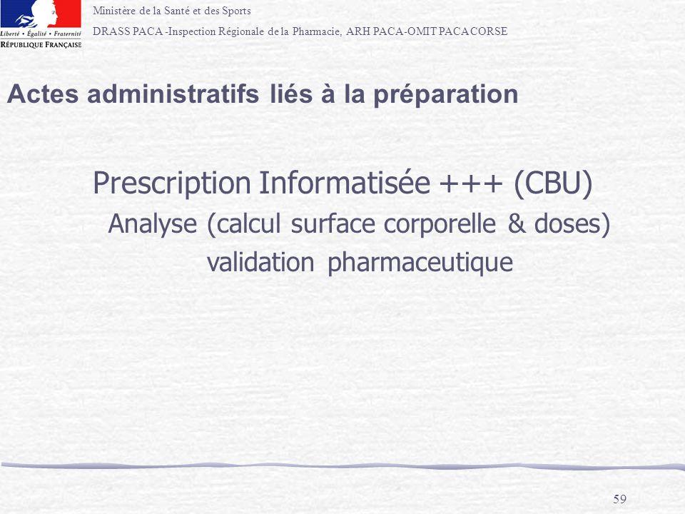 Ministère de la Santé et des Sports DRASS PACA -Inspection Régionale de la Pharmacie, ARH PACA-OMIT PACA CORSE 59 Actes administratifs liés à la prépa