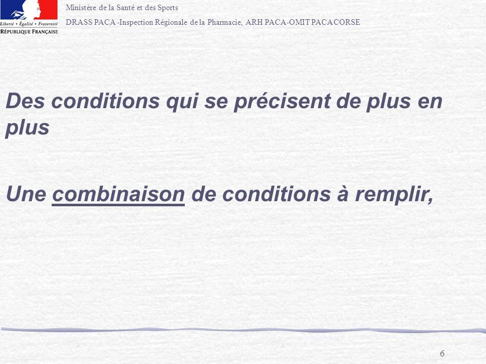 Ministère de la Santé et des Sports DRASS PACA -Inspection Régionale de la Pharmacie, ARH PACA-OMIT PACA CORSE 6 Des conditions qui se précisent de pl