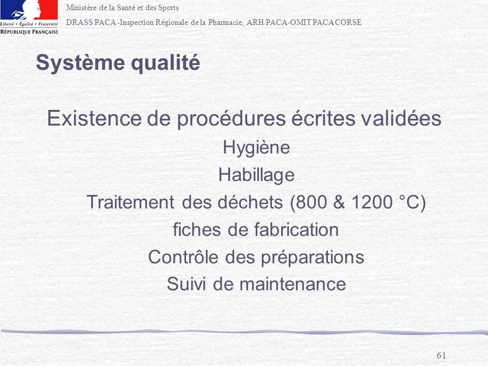 Ministère de la Santé et des Sports DRASS PACA -Inspection Régionale de la Pharmacie, ARH PACA-OMIT PACA CORSE 61 Système qualité Existence de procédu