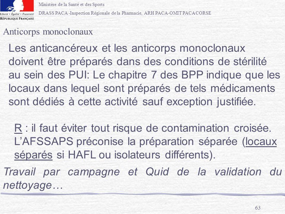 Ministère de la Santé et des Sports DRASS PACA -Inspection Régionale de la Pharmacie, ARH PACA-OMIT PACA CORSE 63 Anticorps monoclonaux Les anticancér