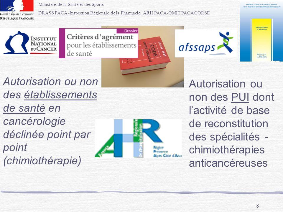 Ministère de la Santé et des Sports DRASS PACA -Inspection Régionale de la Pharmacie, ARH PACA-OMIT PACA CORSE 8 Autorisation ou non des établissement
