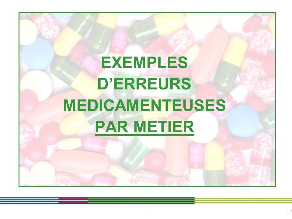 11 EXEMPLES DERREURS MEDICAMENTEUSES PAR METIER