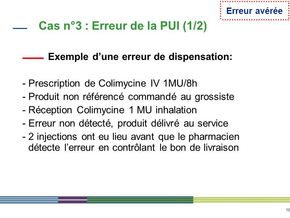 16 Cas n°3 : Erreur de la PUI (1/2) Exemple dune erreur de dispensation: - Prescription de Colimycine IV 1MU/8h - Produit non référencé commandé au gr