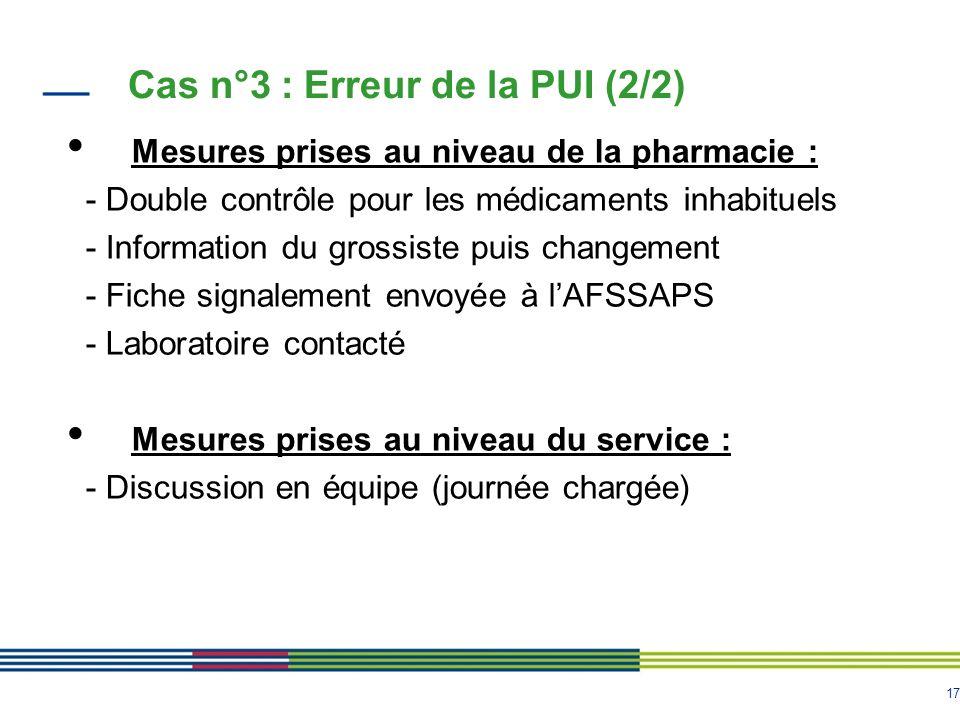 17 Mesures prises au niveau de la pharmacie : - Double contrôle pour les médicaments inhabituels - Information du grossiste puis changement - Fiche si