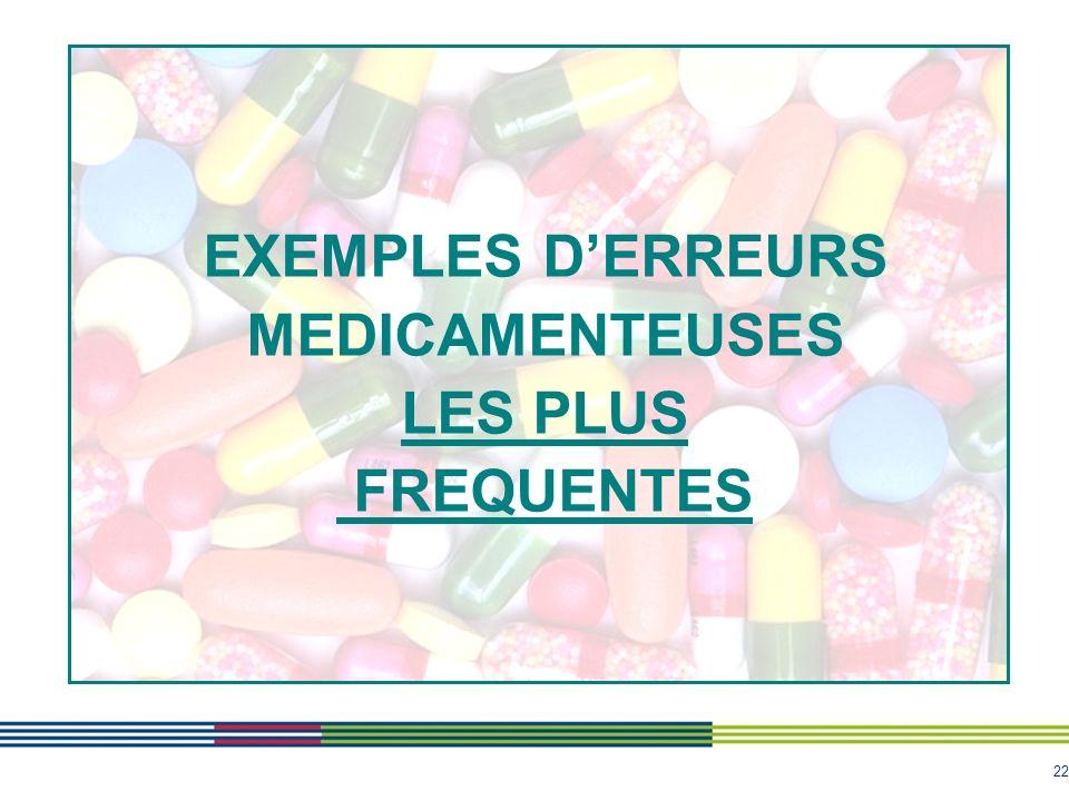 22 EXEMPLES DERREURS MEDICAMENTEUSES LES PLUS FREQUENTES