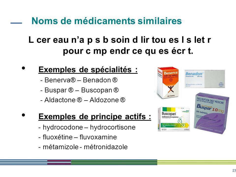 23 Noms de médicaments similaires L cer eau na p s b soin d lir tou es l s let r pour c mp endr ce qu es écr t. Exemples de spécialités : - Benerva® –