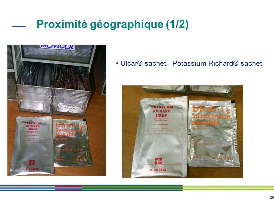 26 Proximité géographique (1/2) Ulcar® sachet - Potassium Richard® sachet