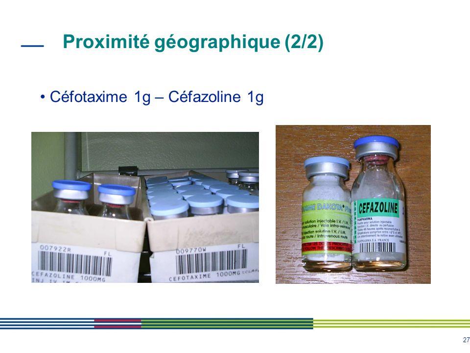 27 Céfotaxime 1g – Céfazoline 1g Proximité géographique (2/2)