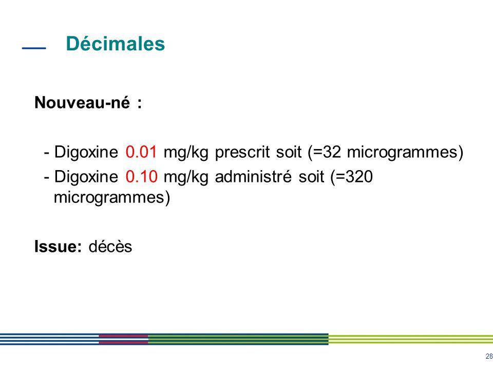 28 Décimales Nouveau-né : - Digoxine 0.01 mg/kg prescrit soit (=32 microgrammes) - Digoxine 0.10 mg/kg administré soit (=320 microgrammes) Issue: décè