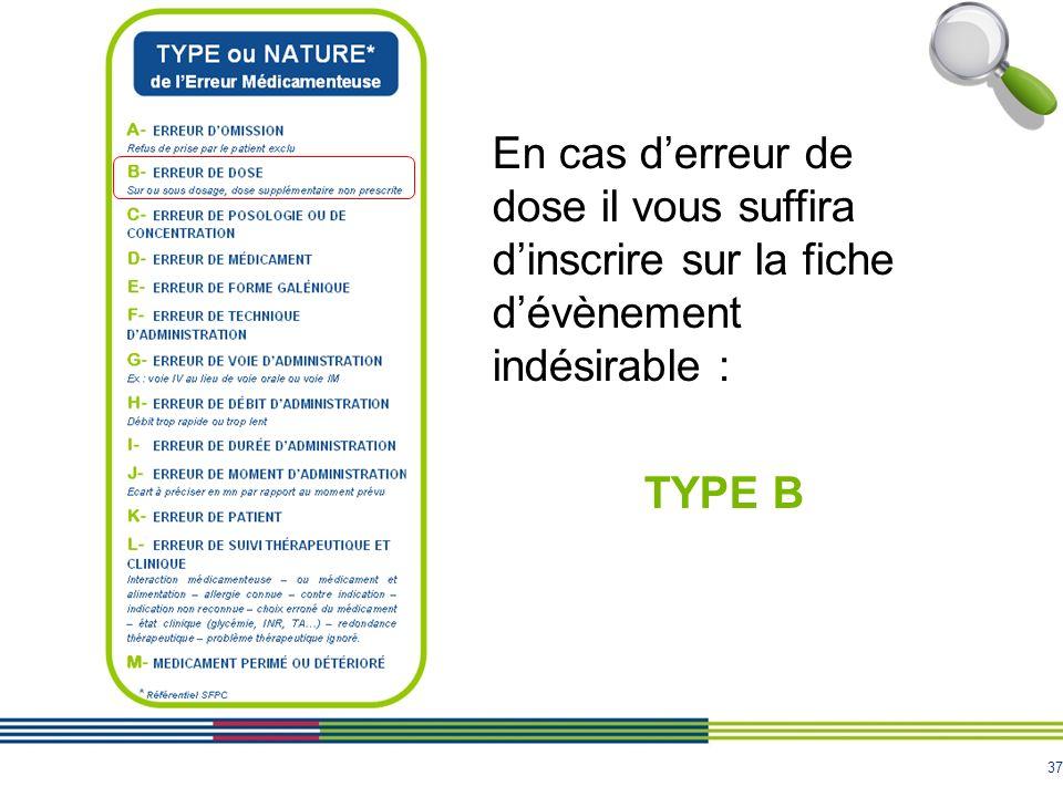 37 En cas derreur de dose il vous suffira dinscrire sur la fiche dévènement indésirable : TYPE B