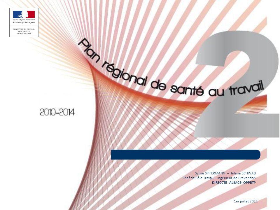 1er juillet 2011 11 Sylvie SIFFERMANN – Hélène SCHWAB Chef de Pôle Travail – Ingénieur de Prévention DIRECCTE ALSACE- OPPBTP