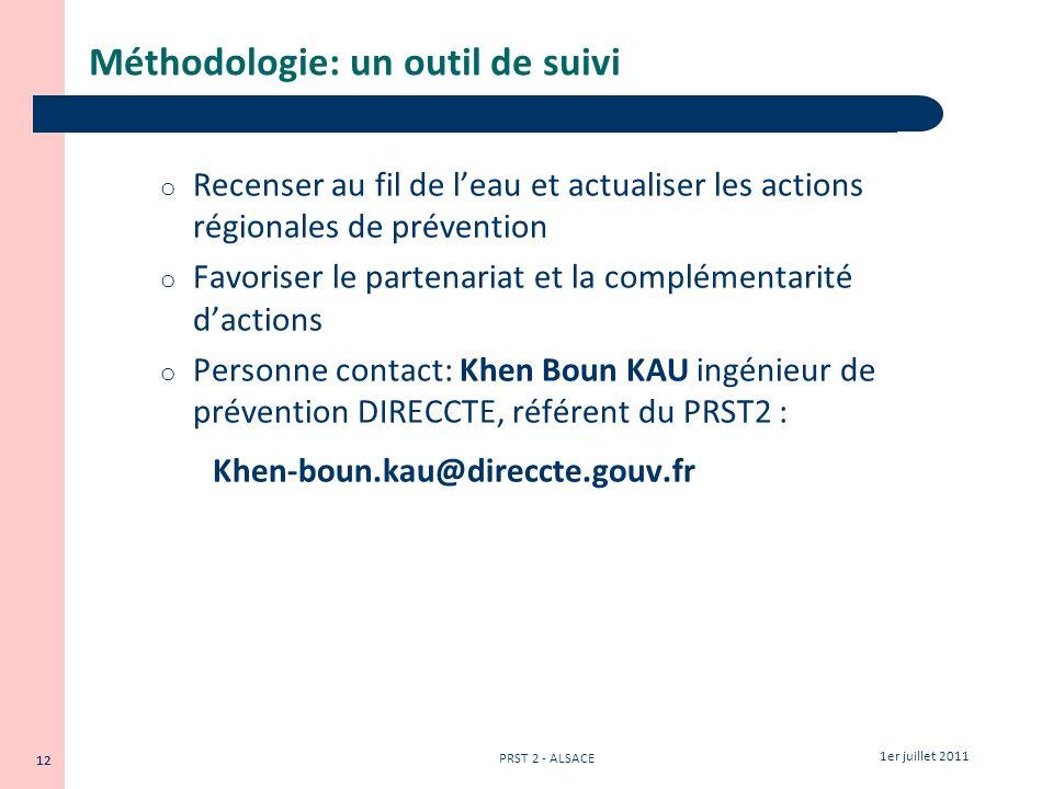 12 1er juillet 2011 PRST 2 - ALSACE 12 Méthodologie: un outil de suivi o Recenser au fil de leau et actualiser les actions régionales de prévention o