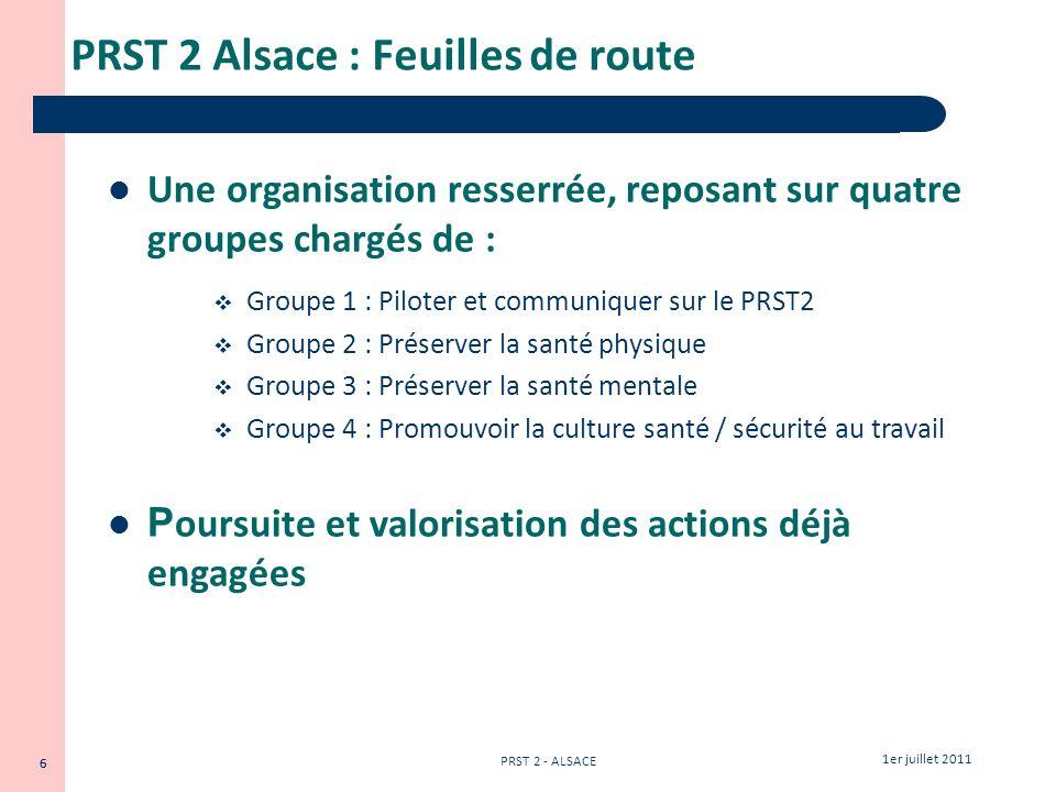 6 1er juillet 2011 PRST 2 - ALSACE 6 PRST 2 Alsace : Feuilles de route Une organisation resserrée, reposant sur quatre groupes chargés de : Groupe 1 :