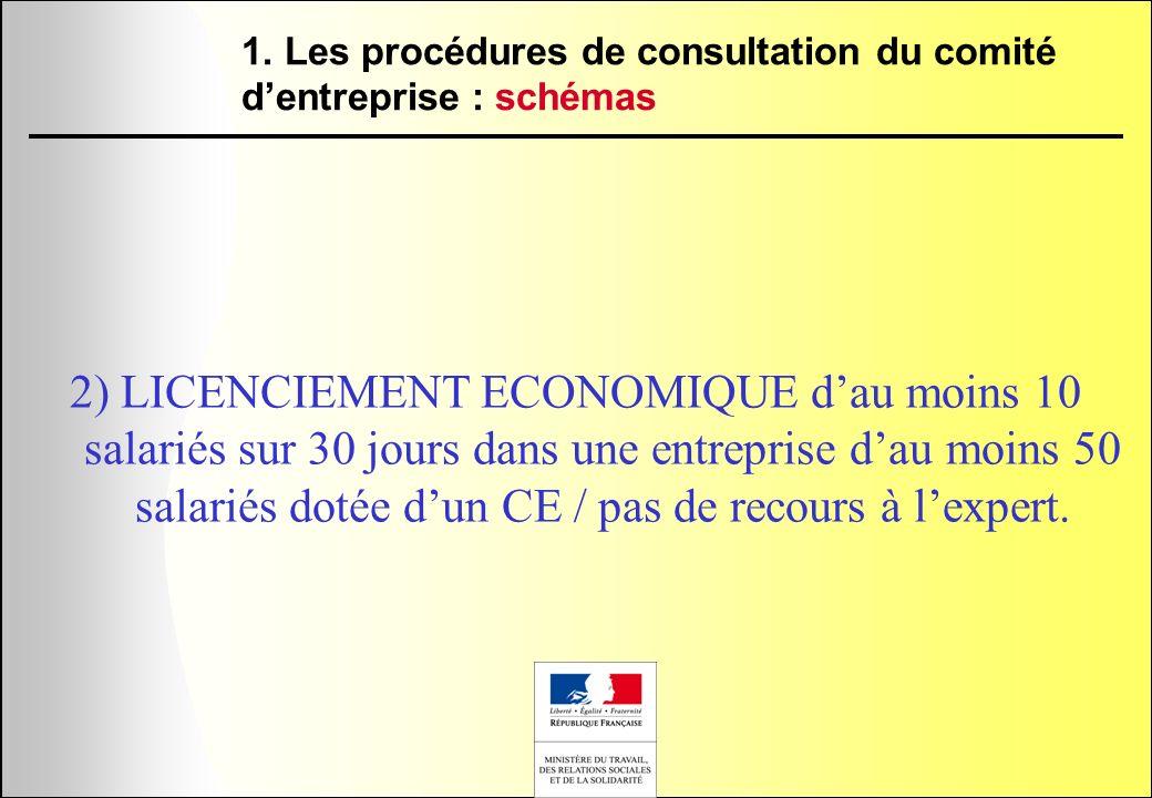 2) LICENCIEMENT ECONOMIQUE dau moins 10 salariés sur 30 jours dans une entreprise dau moins 50 salariés dotée dun CE / pas de recours à lexpert. 1. Le