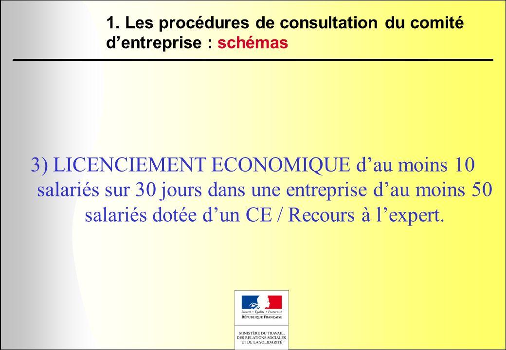 3) LICENCIEMENT ECONOMIQUE dau moins 10 salariés sur 30 jours dans une entreprise dau moins 50 salariés dotée dun CE / Recours à lexpert. 1. Les procé