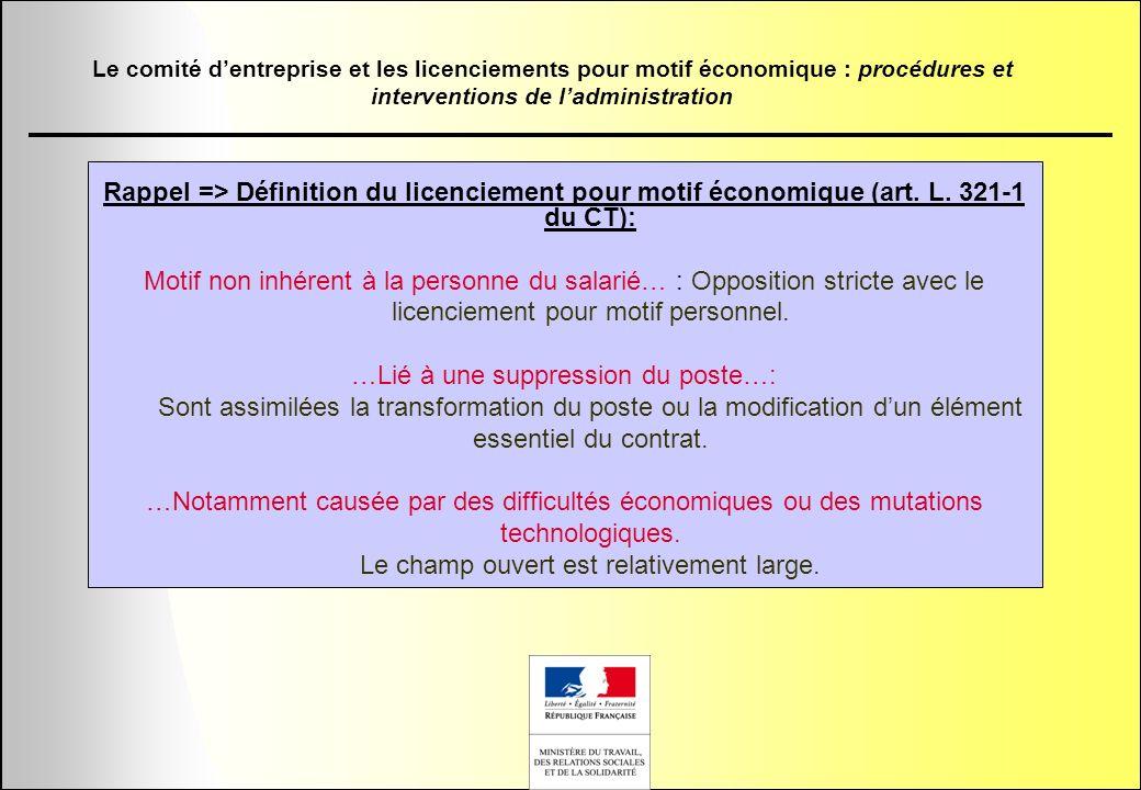 Rappel => Définition du licenciement pour motif économique (art. L. 321-1 du CT): Motif non inhérent à la personne du salarié… : Opposition stricte av