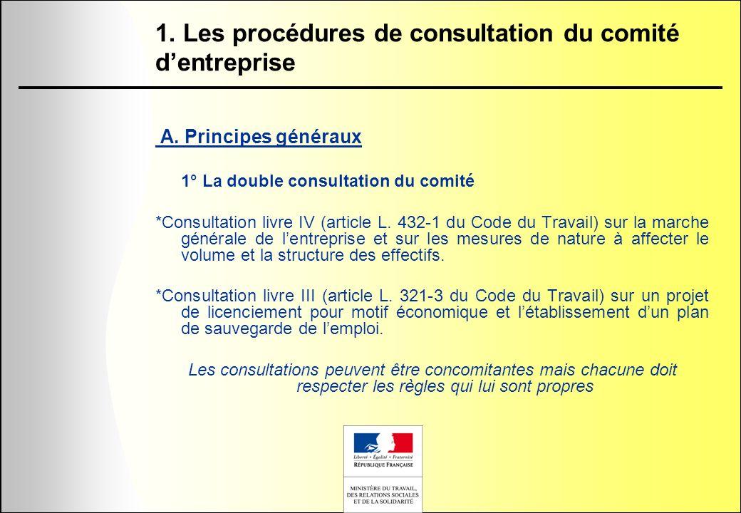 1. Les procédures de consultation du comité dentreprise A. Principes généraux 1° La double consultation du comité *Consultation livre IV (article L. 4
