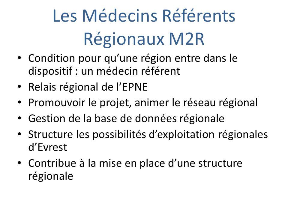 Les Médecins Référents Régionaux M2R Condition pour quune région entre dans le dispositif : un médecin référent Relais régional de lEPNE Promouvoir le projet, animer le réseau régional Gestion de la base de données régionale Structure les possibilités dexploitation régionales dEvrest Contribue à la mise en place dune structure régionale