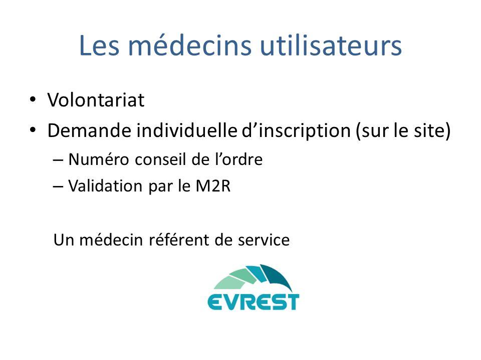 Les médecins utilisateurs Volontariat Demande individuelle dinscription (sur le site) – Numéro conseil de lordre – Validation par le M2R Un médecin référent de service