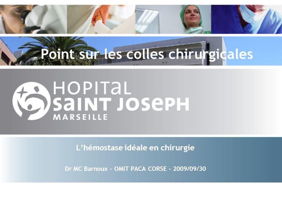 OMIT- 2009/09/30 2 Colles chirurgicales Origines diverses Indications validées Propriétés spécifiques Préparation Résorption in situ Impact médico-économique