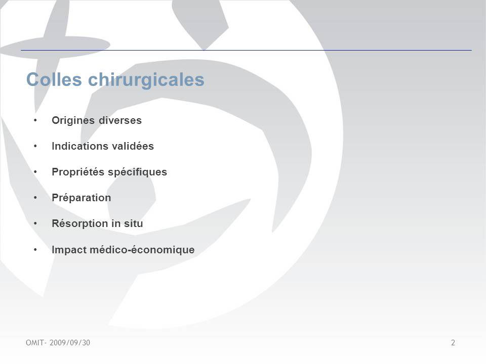 OMIT- 2009/09/30 3 Colles chirurgicales Actualités –Rupture dapprovisionnement: TISSUCOL / BERIPLAST –Europharmat: Faire le tri dans les colles et hémostatiques chirurgicaux: qui sy colle .
