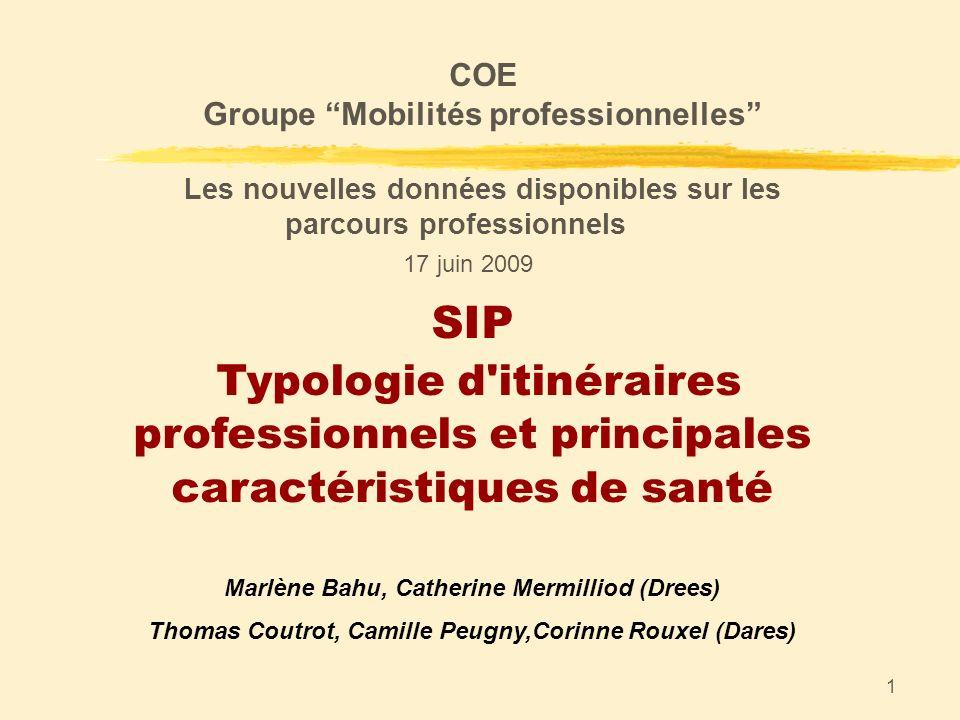 1 SIP Typologie d'itinéraires professionnels et principales caractéristiques de santé Marlène Bahu, Catherine Mermilliod (Drees) Thomas Coutrot, Camil