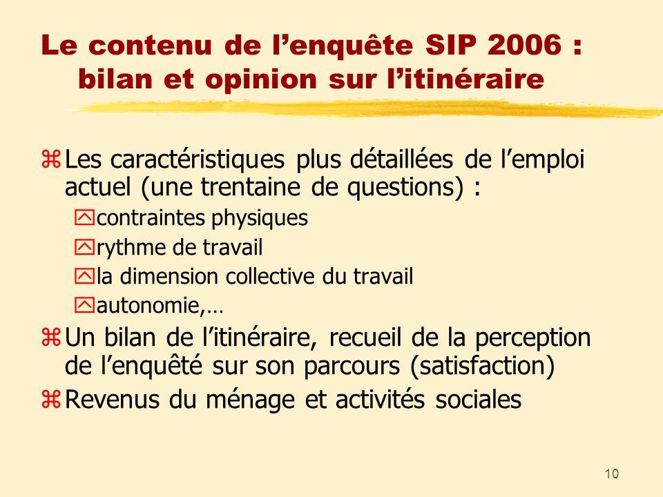 10 Le contenu de lenquête SIP 2006 : bilan et opinion sur litinéraire zLes caractéristiques plus détaillées de lemploi actuel (une trentaine de questi