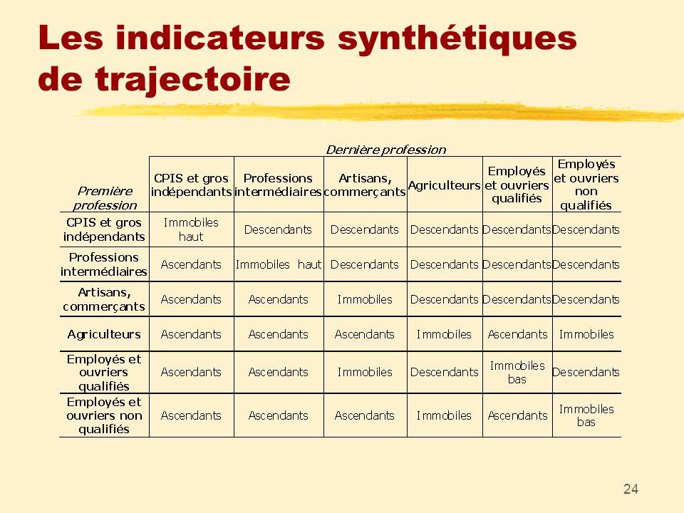 24 Les indicateurs synthétiques de trajectoire