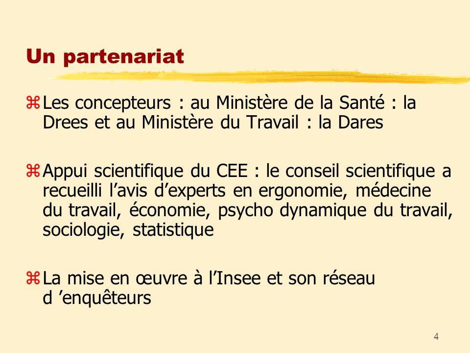 4 Un partenariat zLes concepteurs : au Ministère de la Santé : la Drees et au Ministère du Travail : la Dares zAppui scientifique du CEE : le conseil