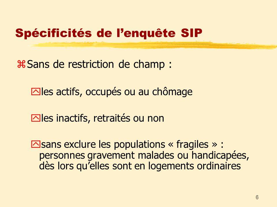 6 Spécificités de lenquête SIP zSans de restriction de champ : yles actifs, occupés ou au chômage yles inactifs, retraités ou non ysans exclure les po