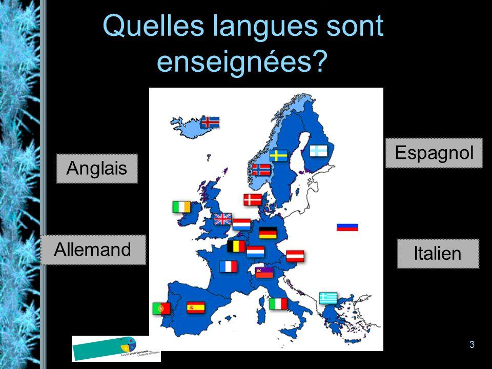 3 Quelles langues sont enseignées? Anglais Allemand Espagnol Italien