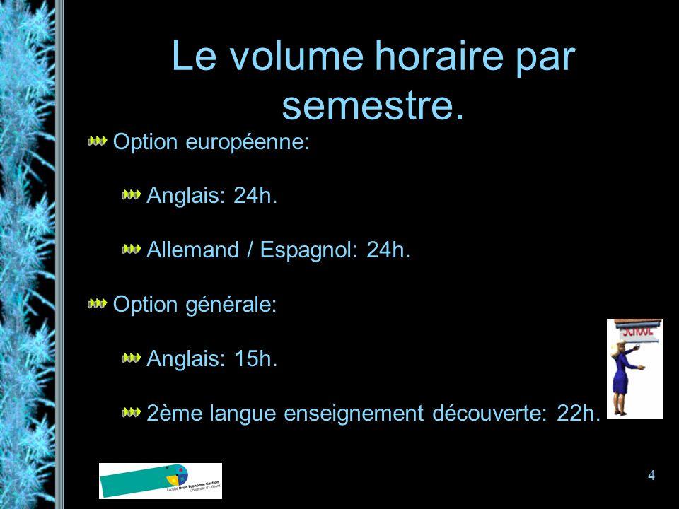 4 Le volume horaire par semestre. Option européenne: Anglais: 24h. Allemand / Espagnol: 24h. Option générale: Anglais: 15h. 2ème langue enseignement d