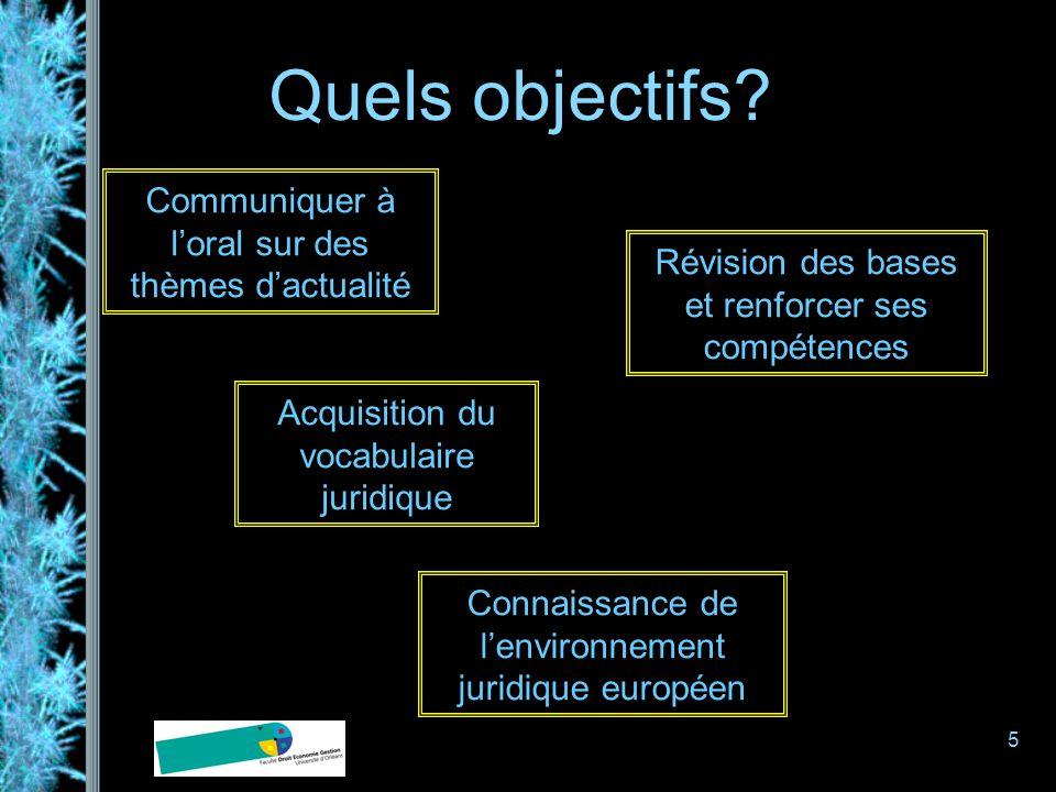 5 Quels objectifs? Communiquer à loral sur des thèmes dactualité Acquisition du vocabulaire juridique Connaissance de lenvironnement juridique europée