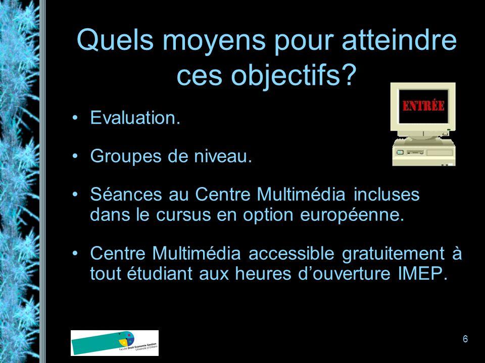 6 Quels moyens pour atteindre ces objectifs? Evaluation. Groupes de niveau. Séances au Centre Multimédia incluses dans le cursus en option européenne.